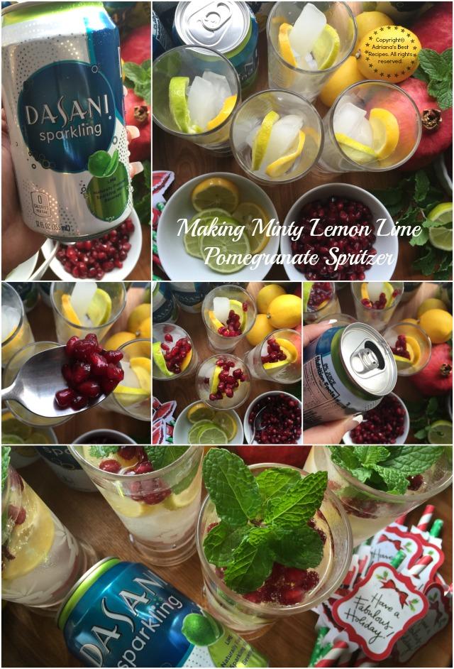 Making Minty Lemon Lime Pomegranate Spritzer #SparklingHolidays #ad