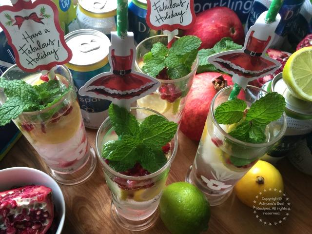 Minty Lemon Lime Pomegranate Spritzer Recipe #SparklingHolidays #ad