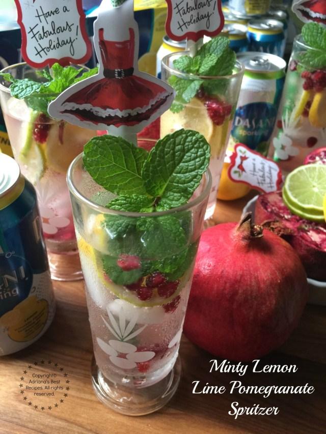 Minty Lemon Lime Pomegranate Spritzer recipe for the holidays #SparklingHolidays #ad