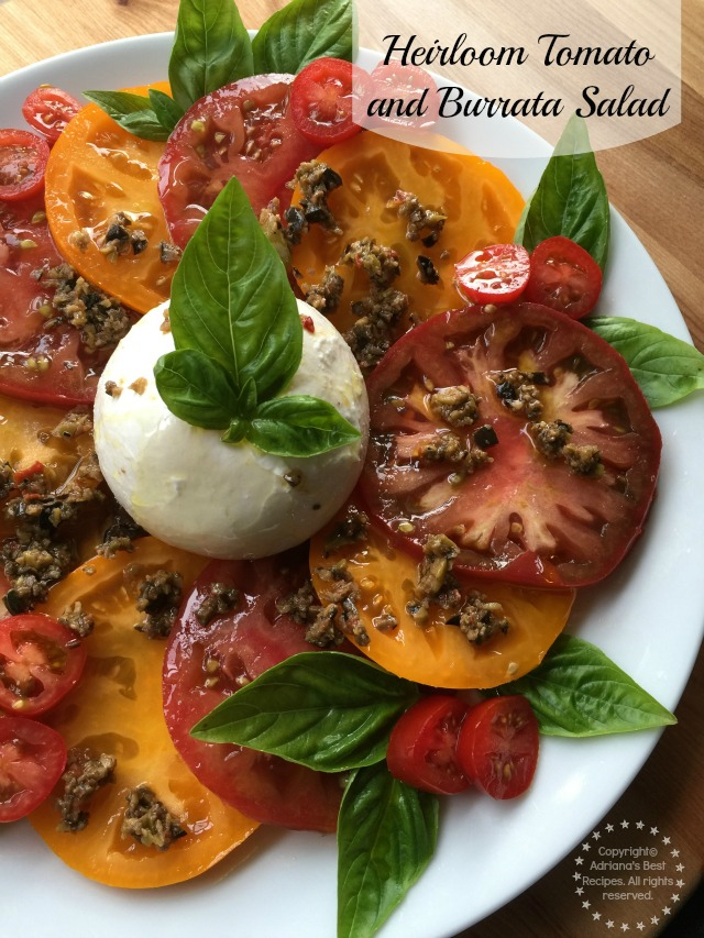 Recipe for the Heirloom Tomato and Burrata Salad