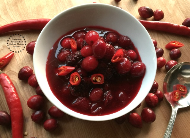 Spicy Blackberry Cranberry Sauce with lemon peel, chile de árbol and a touch of sriracha