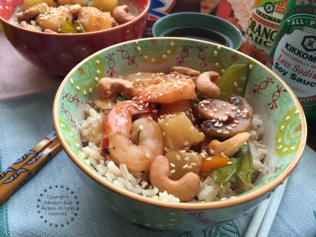 Spicy Pineapple Shrimp Stir Fry ready in less than 20 minutes
