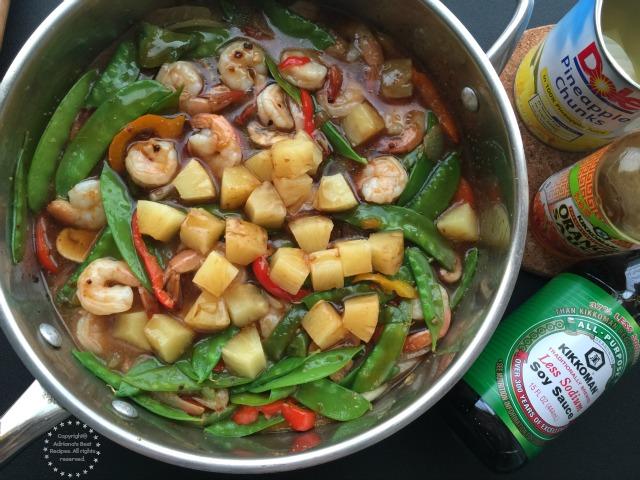 To add sweetness to the dish I have used Kikkoman Orange Sauce and Dole Pineapple Chunks in 100 pineapple juice