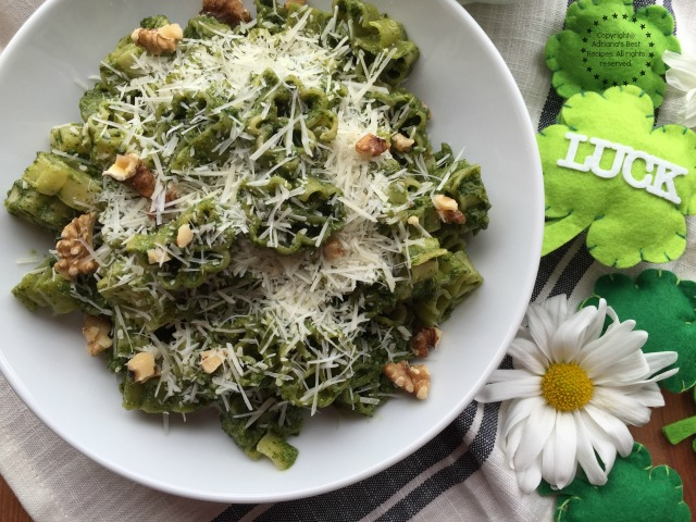 Kale Pesto Lucky Pasta for St Patricks Day