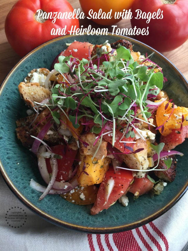 Panzanella Salad with bagels and heirloom tomatoes