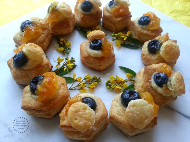 Recipe for the vanilla blueberry vol au vents with a dash of orange peel preserves