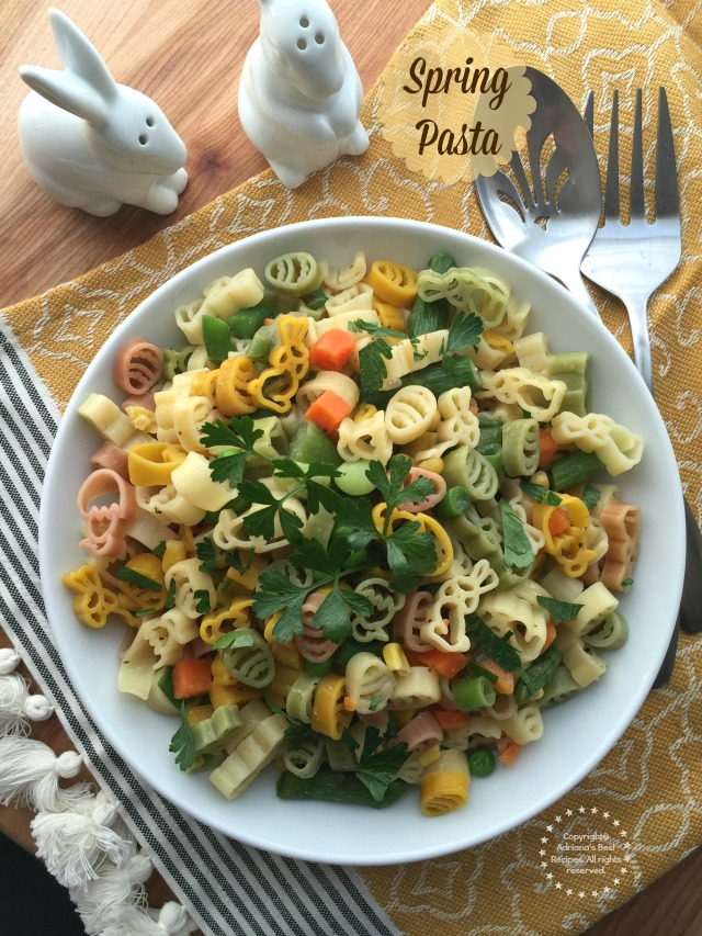 Spring pasta with asparagus tips, mixed veggies, parsley and butter