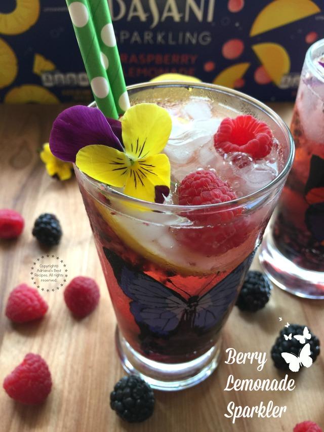 A berry lemonade sparkler made with fresh fruit, citrus and Dasani Sparkling