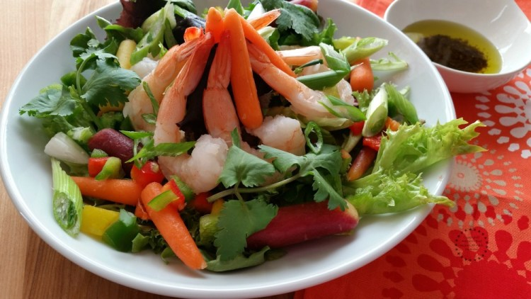 A Rainbow Carrot Shrimp Salad
