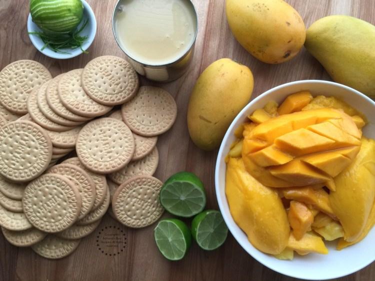 Ingredientes para la Carlota de Mango de Manila