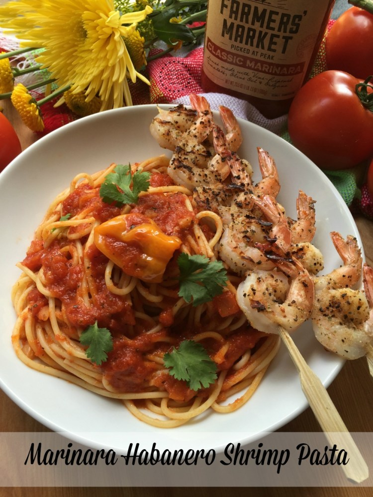 Marinara Habanero Shrimp Pasta made with fresh ingredients and Prego Farmers Market Classic Marinara