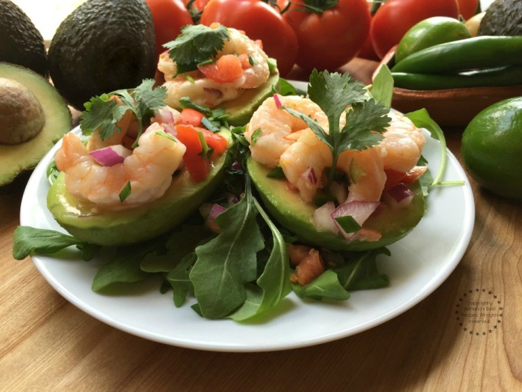 Delicious aguacates stuffed with shrimp salad