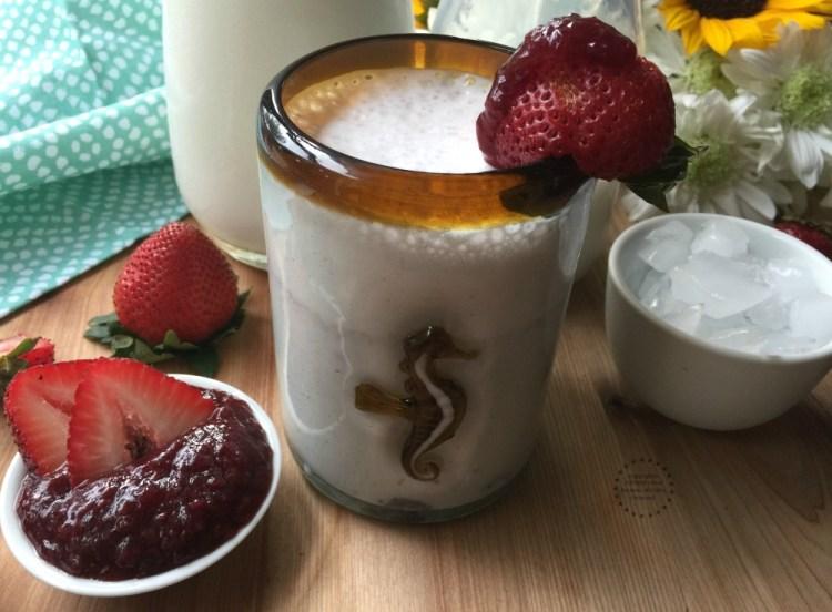 Milk with strawberry jam my moms recipe creation