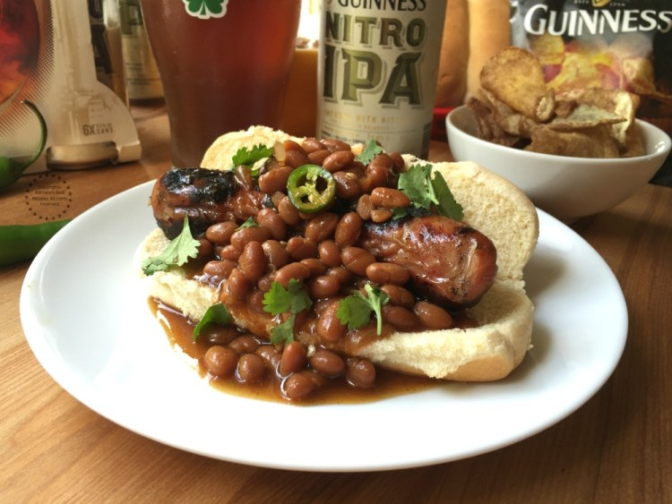 Pairing the Chicken Dogs with Guinness NITRO IPA and Guinness Chips perfect balance of flavors