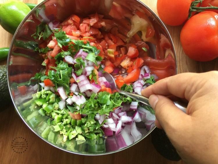 Preparing the pico de gallo for the Spicy Firecracker Pork Brats