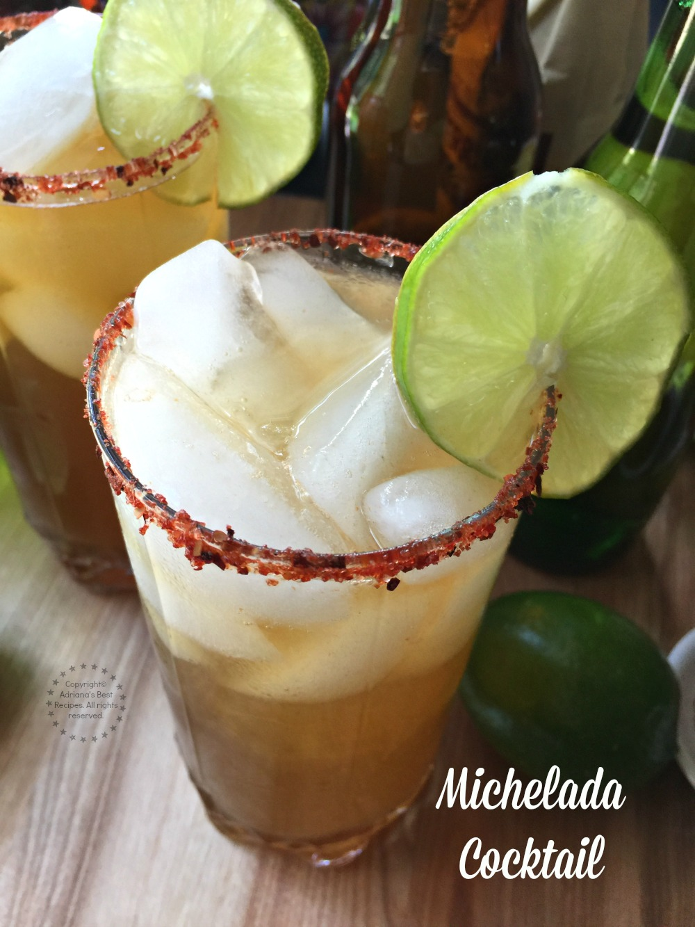 Refreshing Michelada Cocktail made with beer, lime juice, Worcestershire sauce and TABASCO