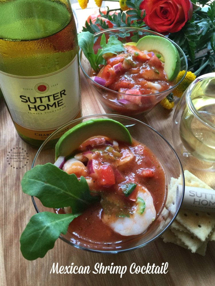 This Mexican Shrimp Cocktail is a perfect appetizer to start a special dinner with a glass of chilled Sutter Home Chardonnay wine to uncork the moments