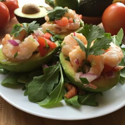 Aguacates Stuffed with Shrimp Salad