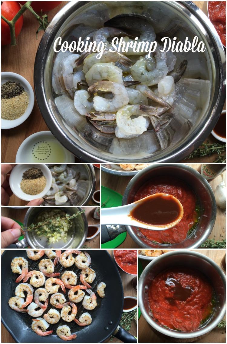 Cooking shrimp diabla