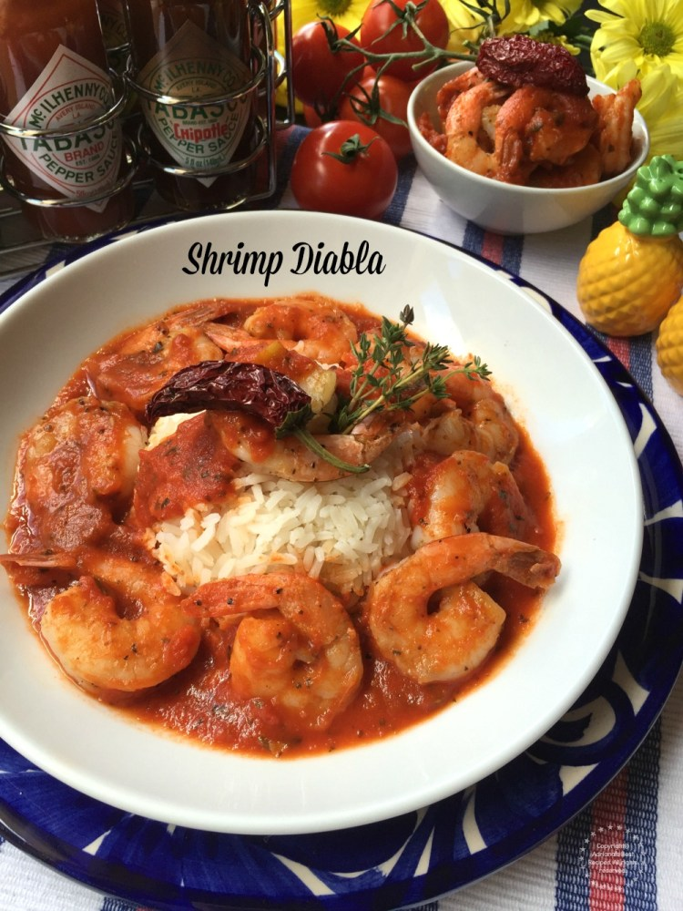 Shrimp Diabla made with tomato sauce, Mexican spices, garlic and TABASCO chipotle sauce