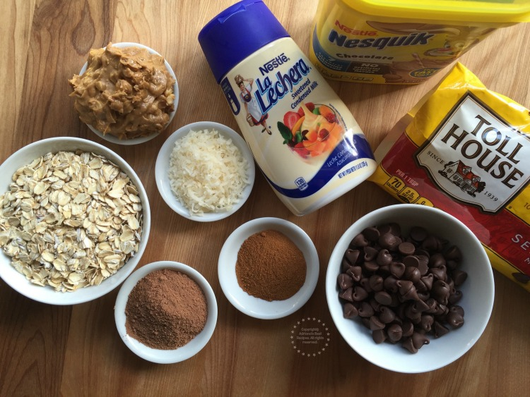 Ingredients for making Mexican Chocolate Peanut Truffles