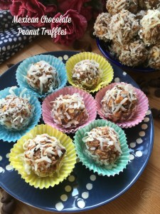Mexican Chocolate Peanut Truffles with Coconut a special treat for Hispanic Heritage Month celebrations