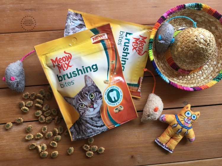 New Meow Mix Brushing Bites made with real chicken or salmon for a delicious taste