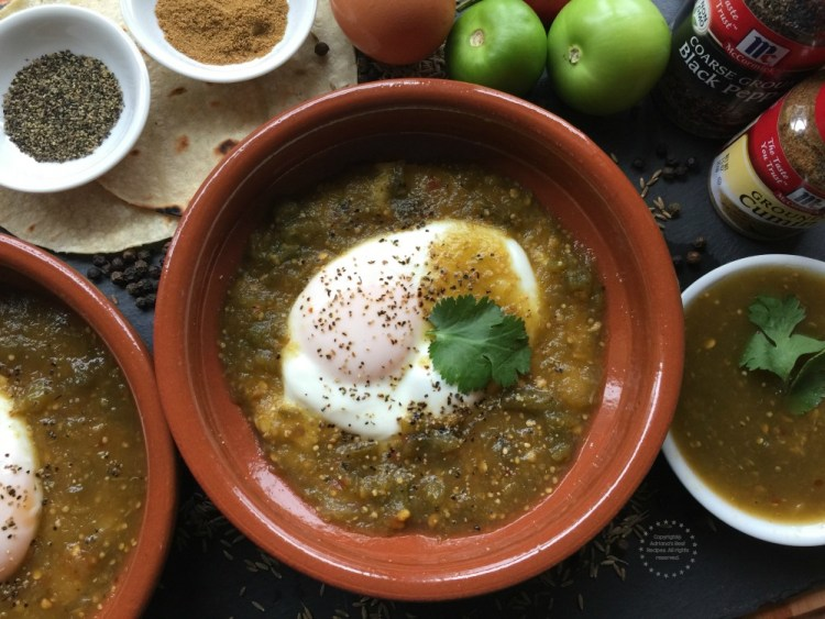 This recipe for green ranchero eggs is excellent for breakfast, brunch, and even for dinner