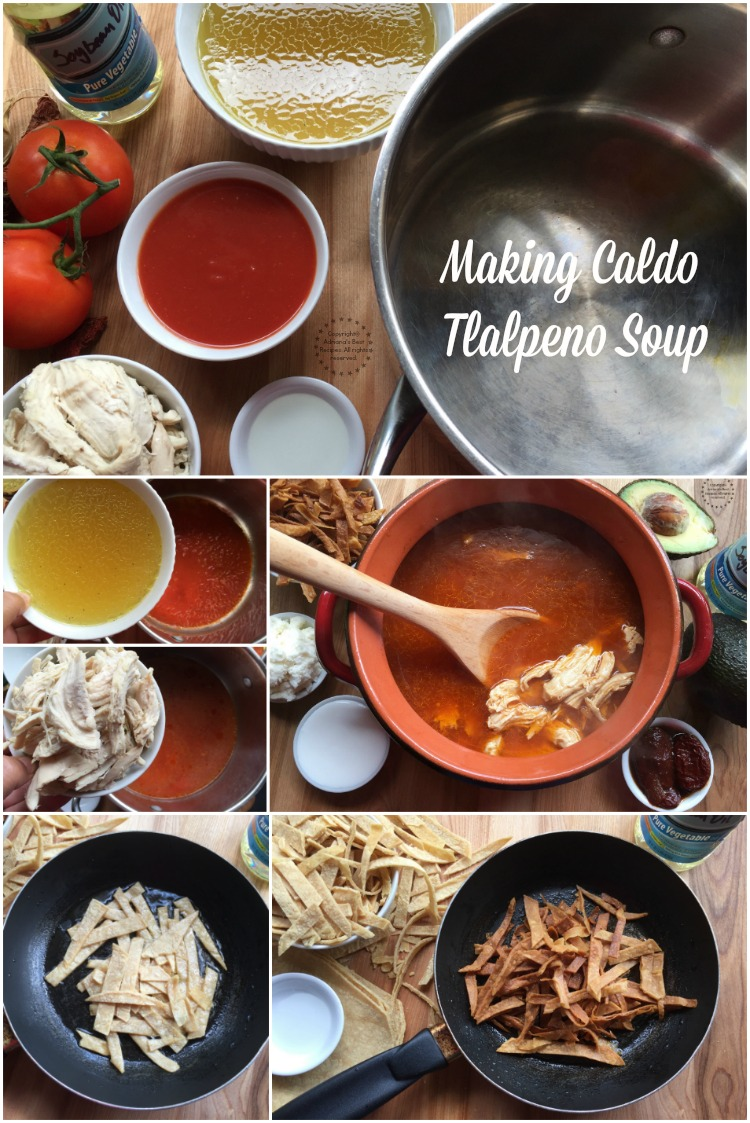 Making caldo tlalpeno soup