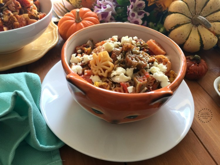 Fall pasta for Thanksgiving has butternut squash, chipotle, pepitas and tomato sauce.