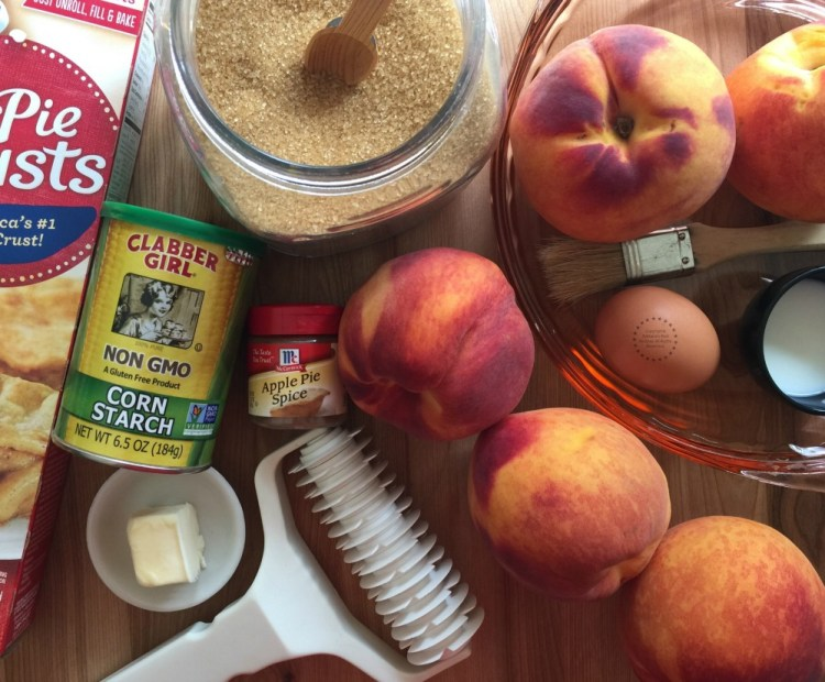 Ingredients for making the easy peach pie
