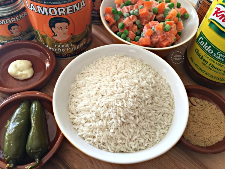 Ingredients for the Mexican White Rice recipe