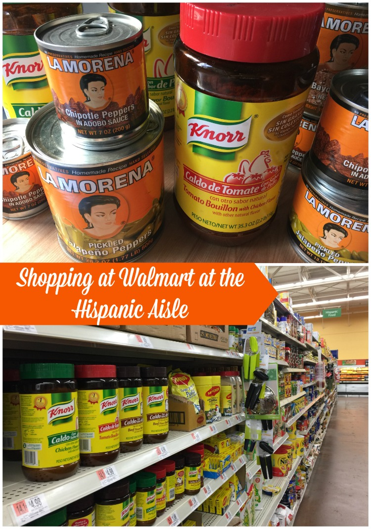 Shopping at Walmart at the Hispanic Aisle where I can find my favorite products