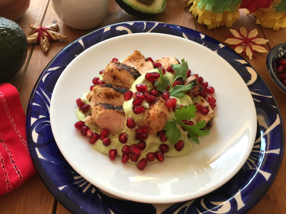 Avocado Crema Chicken with Pomegranate Jewels