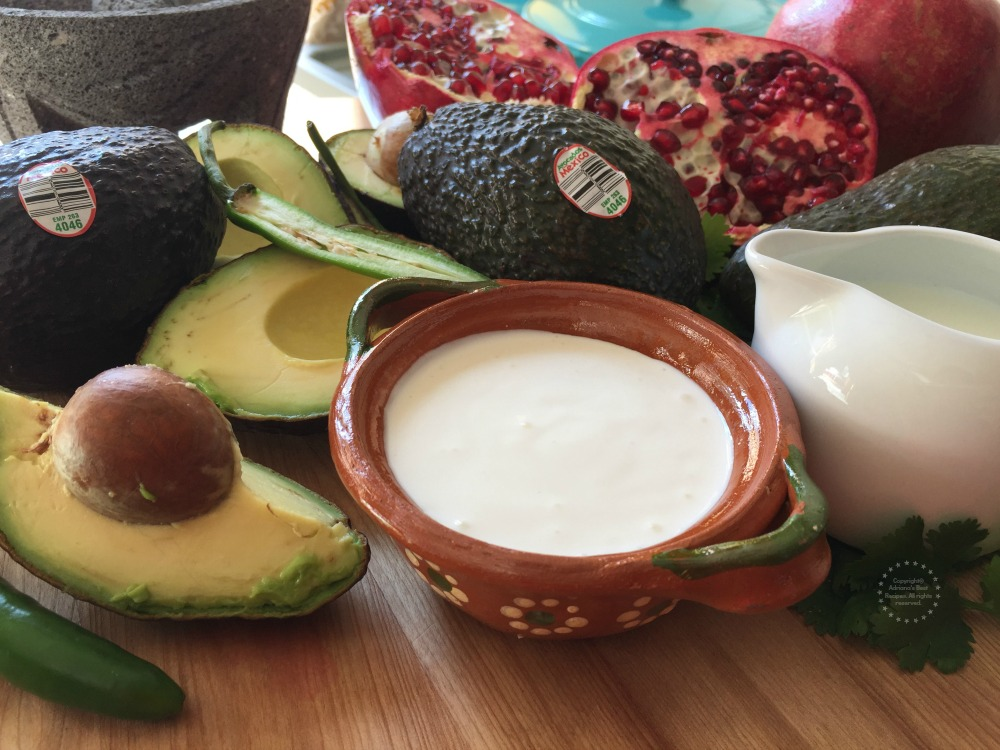 Ingredients for the Avocado Crema Chicken with Pomegranate Jewels