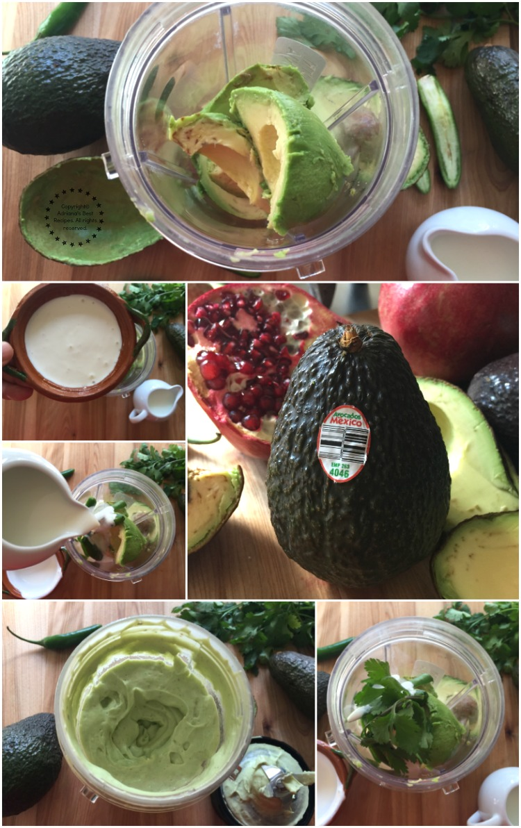 Making the avocado crema