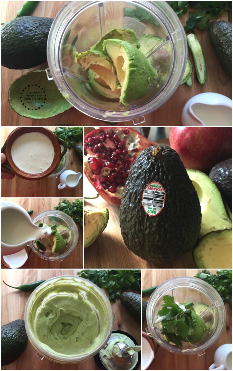Making the avocado crema