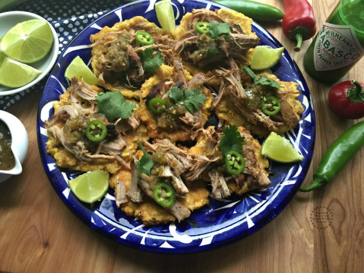 The holidays call for Tostones with Carnitas seasoned with TABASCO Jalapeno green sauce