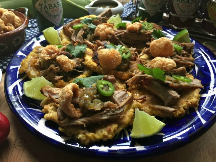 The tostones with carnitas are the perfect appetizer for a holiday party