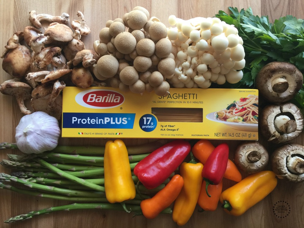Few of the ingredients for the Roasted Veggies Protein Pasta