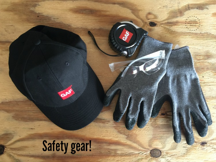 A roofing project requires safety gear