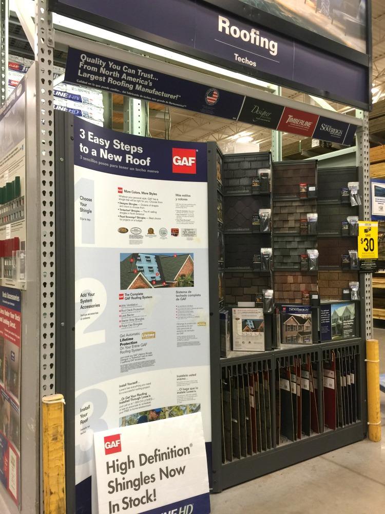 GAF display at Lowes