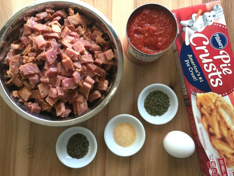 Ingredients for making the Ham and Cheese Pie