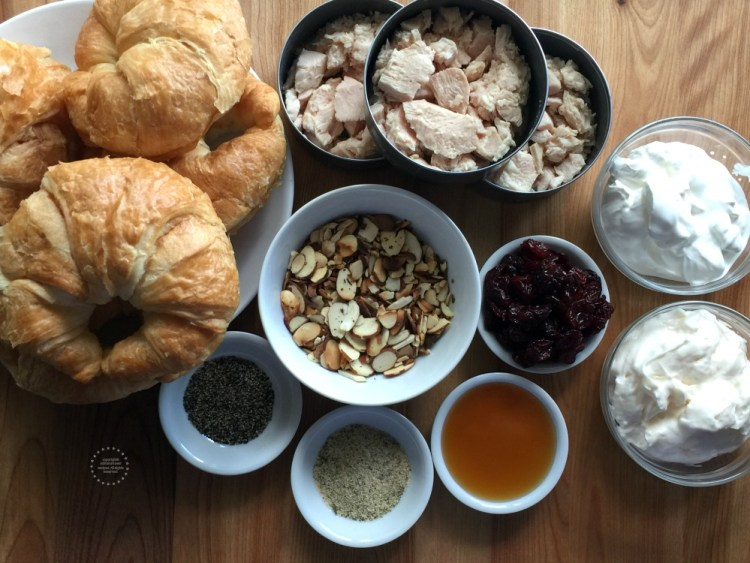 Ingredients for the Almond Cherry Chicken Salad Croissant