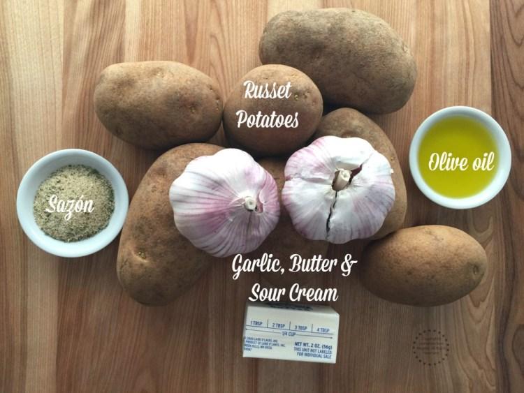 Ingredients for the roasted garlic mashed potatoes