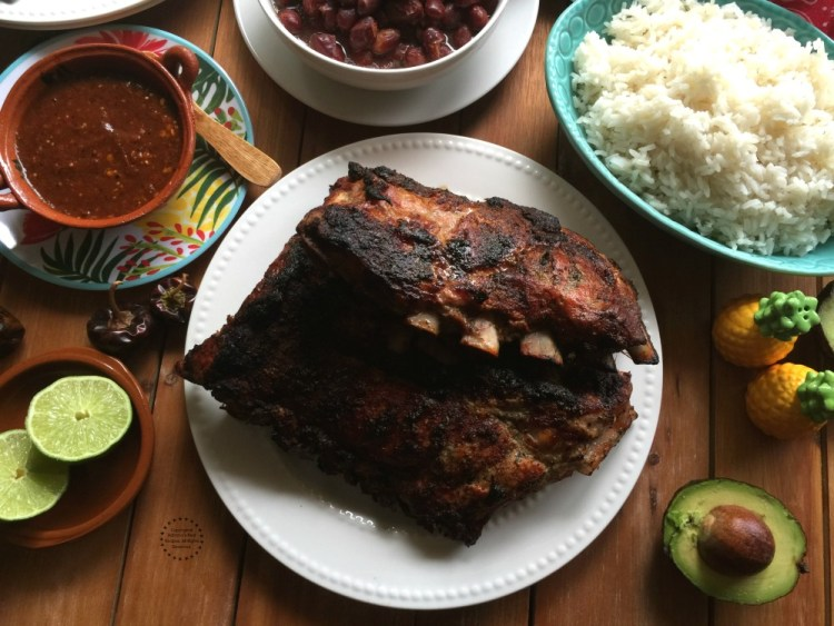 Finger licking Grilled Cuban Style Pork Ribs ready to be enjoyed