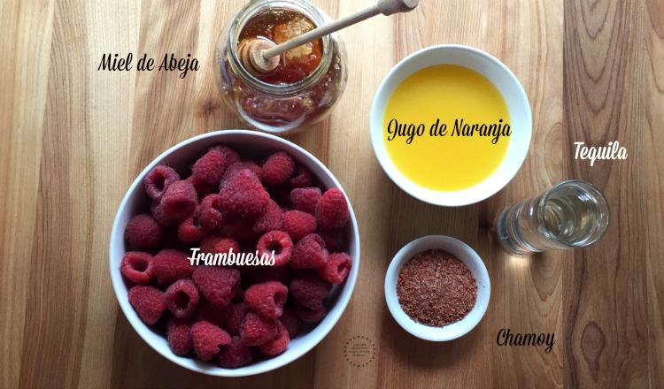 Ingredientes para la Margarita Helada de Frambuesas