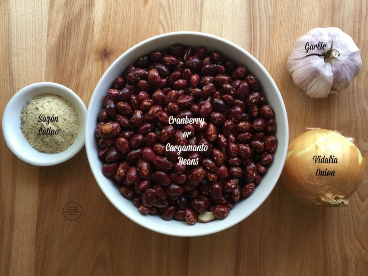 Ingredients for making the red cranberry beans