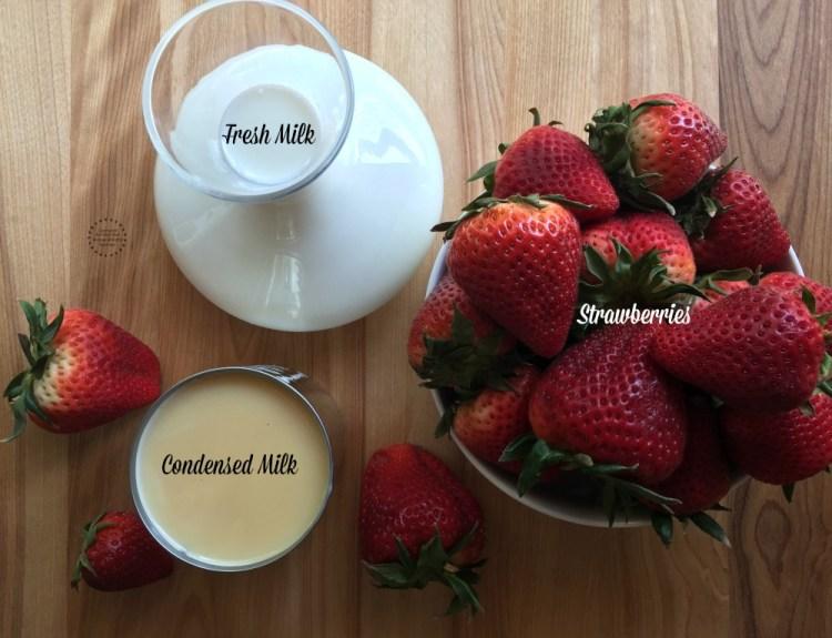 Ingredients for the Fresh Strawberry Milk Ice Cream