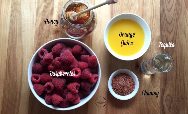 Ingredients for the Frozen Raspberry Chamoy Margarita